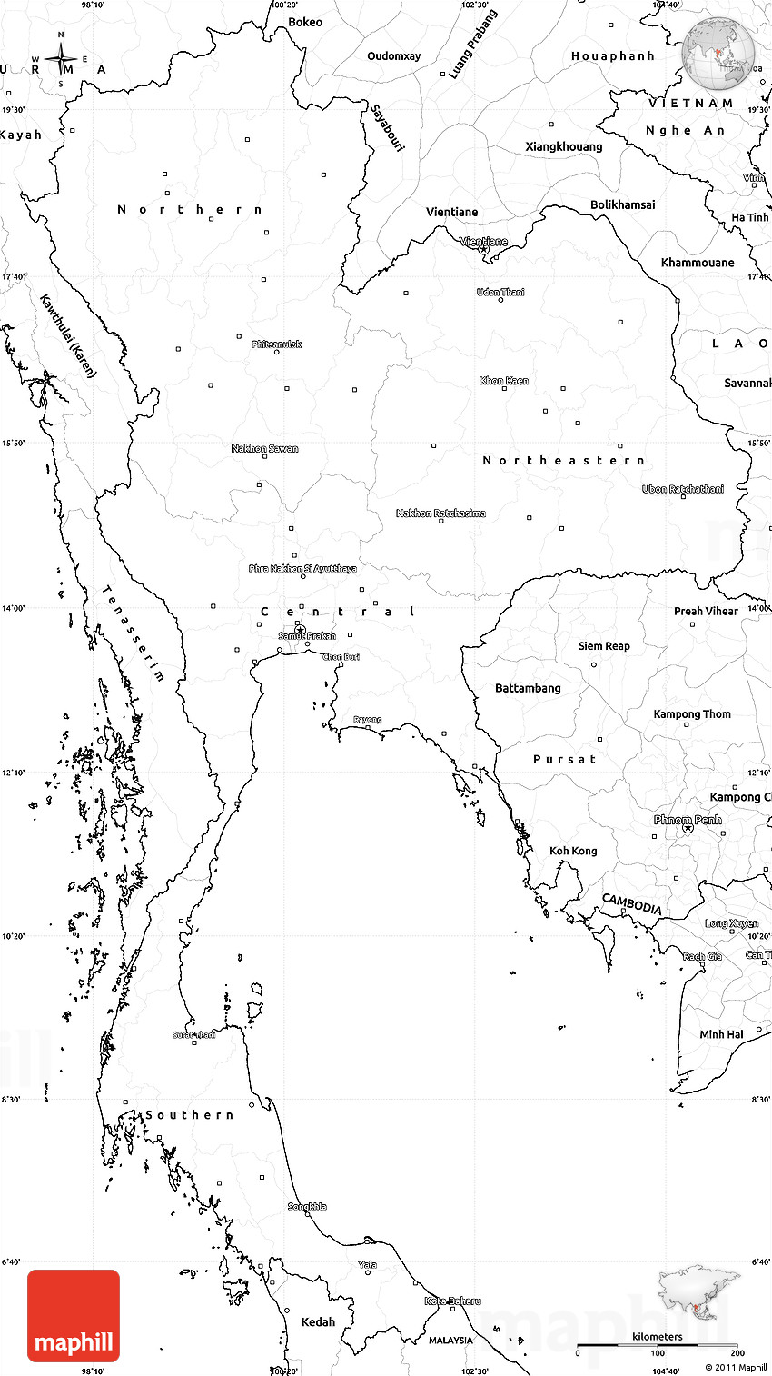 Blank Simple Map Of Thailand - Thailand blank map