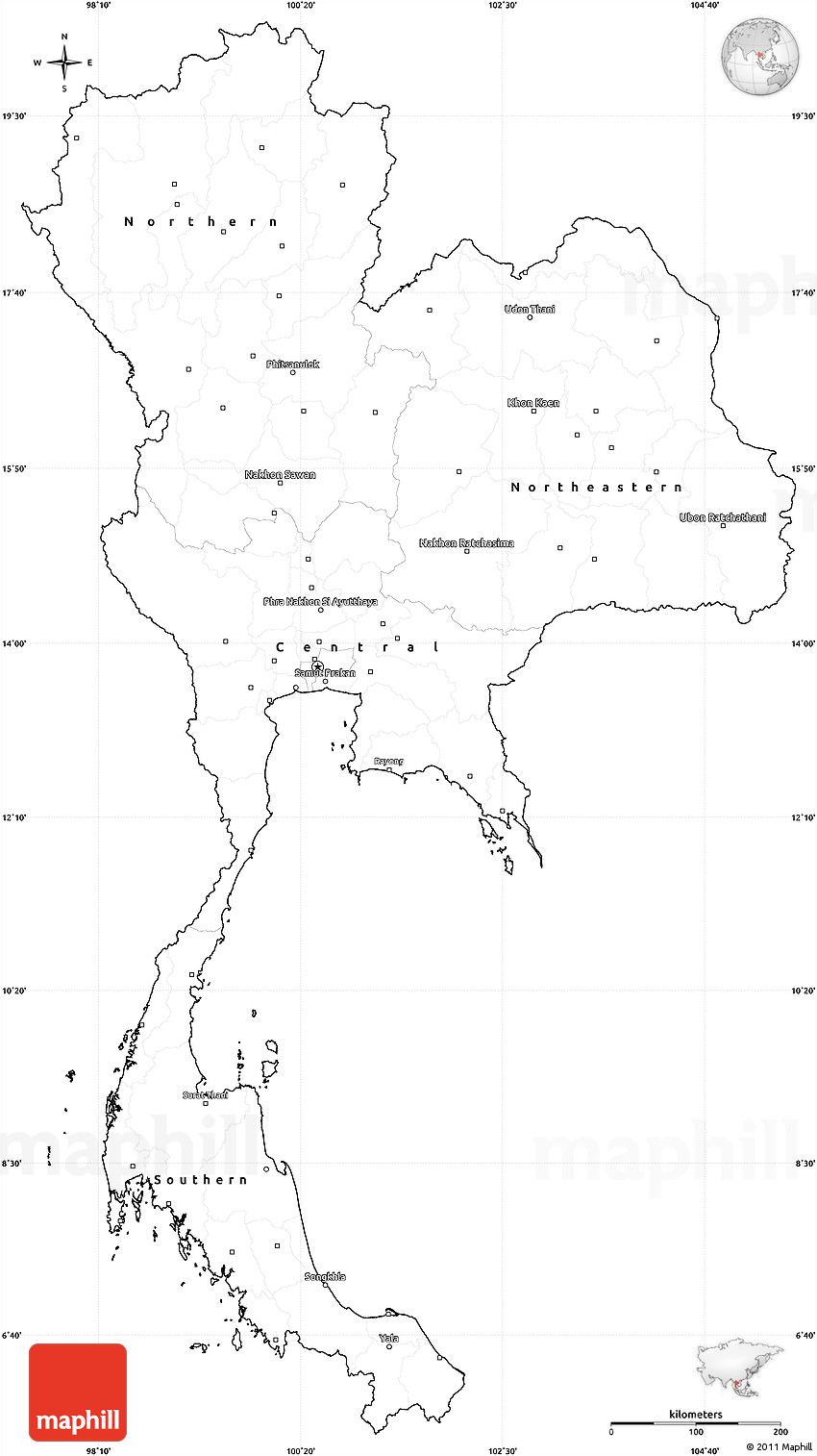 Blank Simple Map Of Thailand Cropped Outside - Thailand blank map