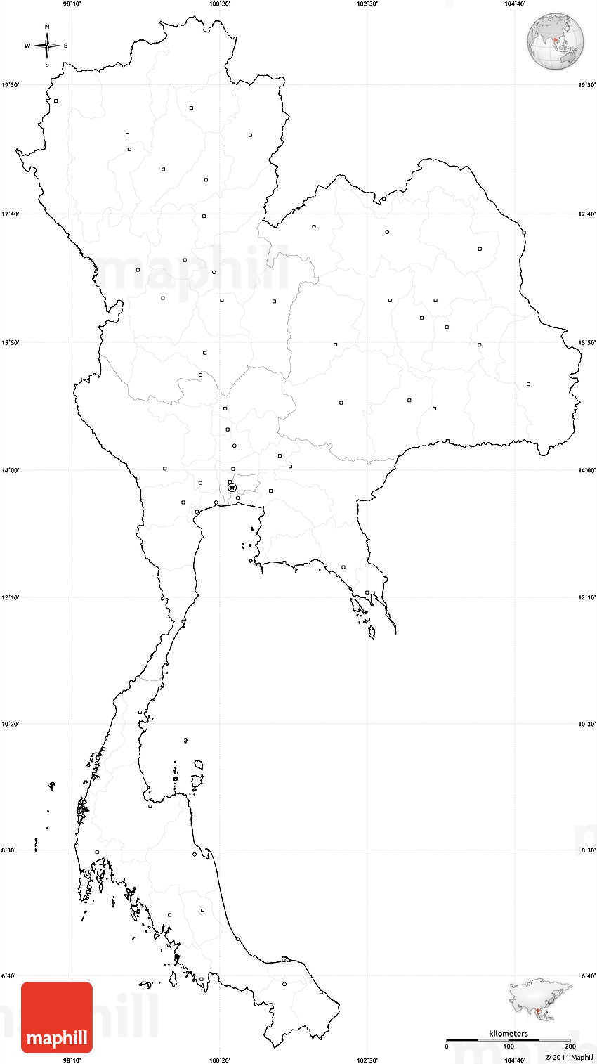 Blank Simple Map of Thailand, cropped outside, no labels