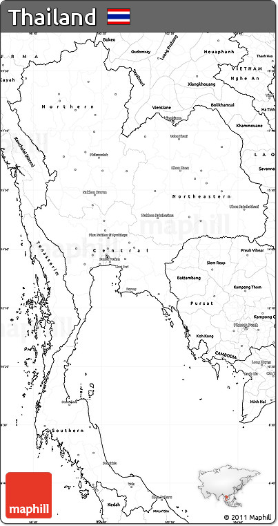 Free Blank Simple Map Of Thailand - Thailand blank map