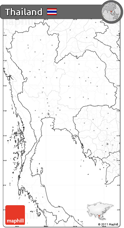 Free Blank Simple Map Of Thailand No Labels - Thailand blank map