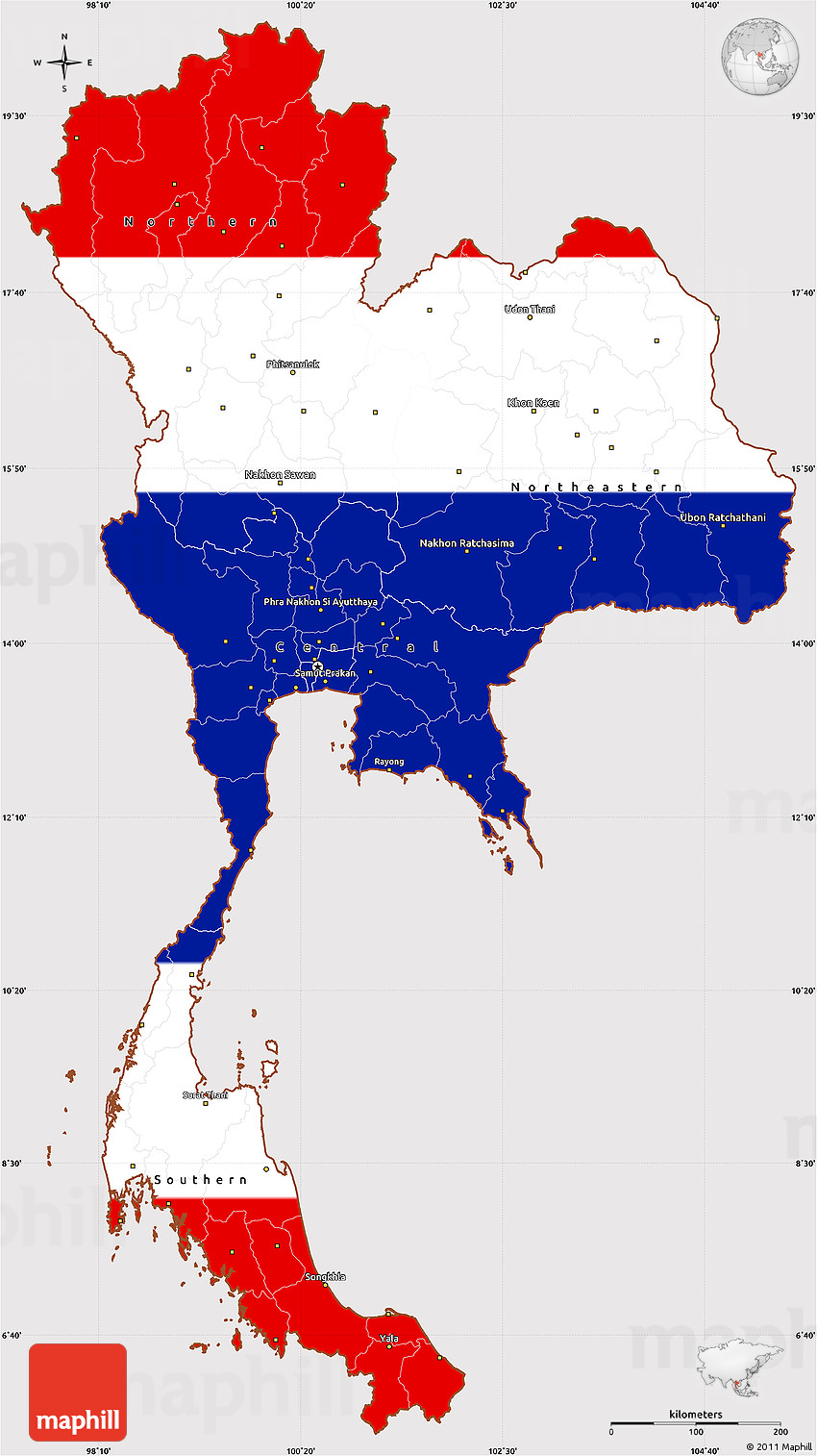 Flag Simple Map Of Thailand - Thailand map