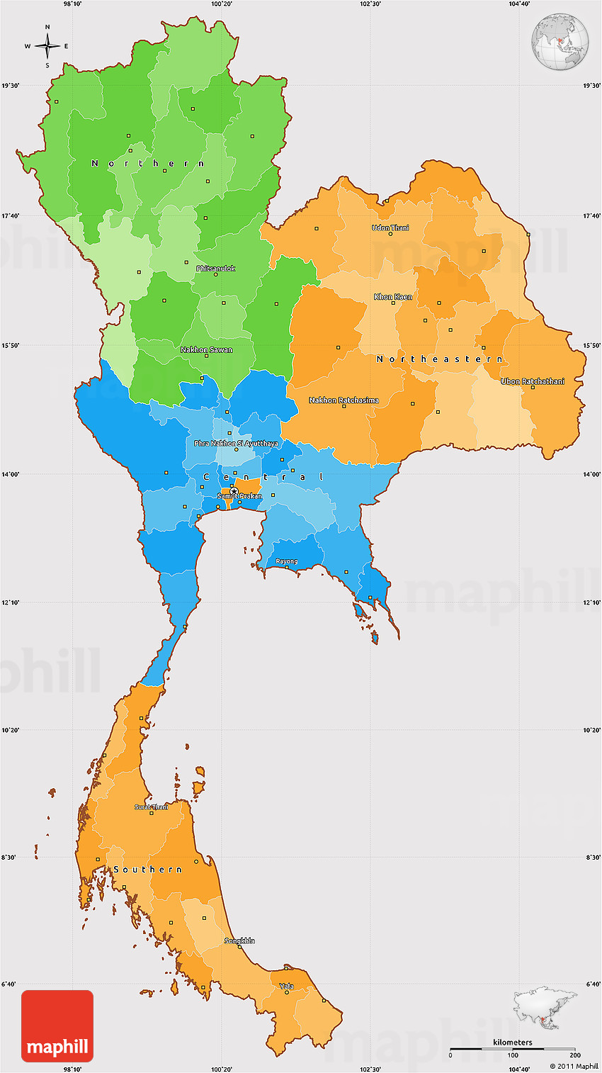 Political Simple Map of Thailand  cropped outsideThailand Map Outline