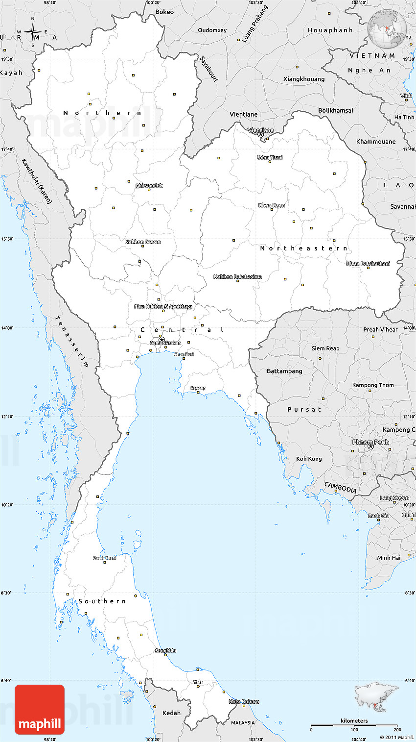 Silver Style Simple Map Of Thailand - Thailand blank map