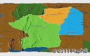 Political Panoramic Map of Centre, darken