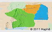 Political Panoramic Map of Centre, lighten