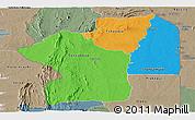 Political Panoramic Map of Centre, semi-desaturated