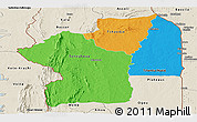 Political Panoramic Map of Centre, shaded relief outside
