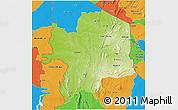 Physical 3D Map of Kara, political outside