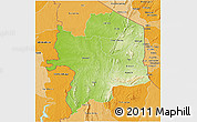 Physical 3D Map of Kara, political shades outside
