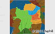 Political 3D Map of Kara, darken