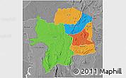 Political 3D Map of Kara, desaturated