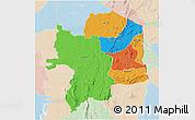 Political 3D Map of Kara, lighten
