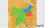 Political 3D Map of Kara, political shades outside