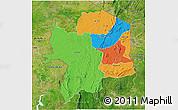 Political 3D Map of Kara, satellite outside