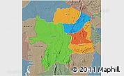 Political 3D Map of Kara, semi-desaturated
