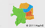 Political 3D Map of Kara, single color outside