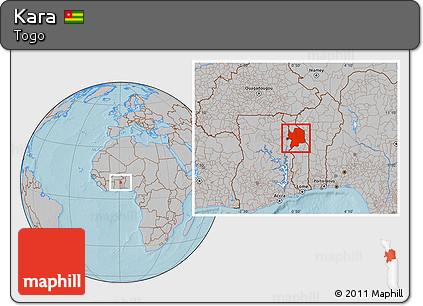 Free Gray Location Map of Kara, hill shading