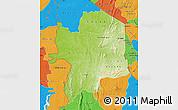 Physical Map of Kara, political outside
