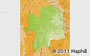 Physical Map of Kara, political shades outside