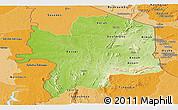 Physical Panoramic Map of Kara, political shades outside