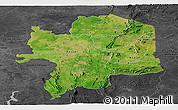 Satellite Panoramic Map of Kara, darken, desaturated