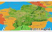 Satellite Panoramic Map of Kara, political outside