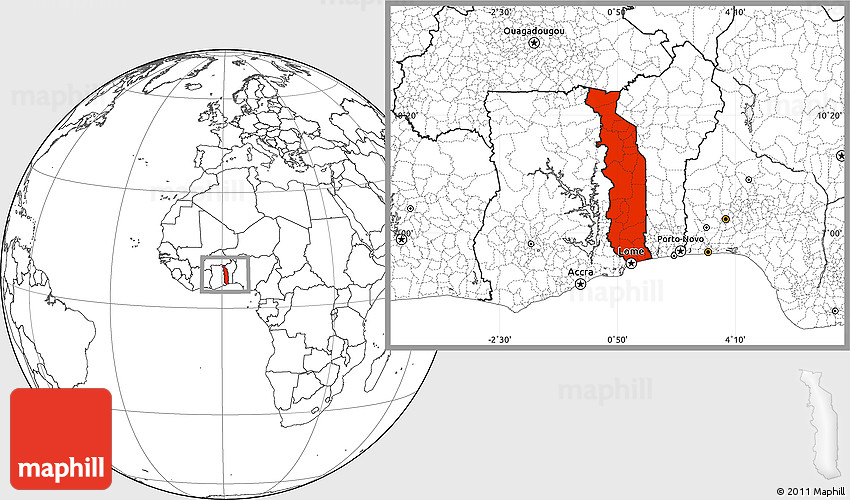 Blank Location Map Of Togo - Togo map outline