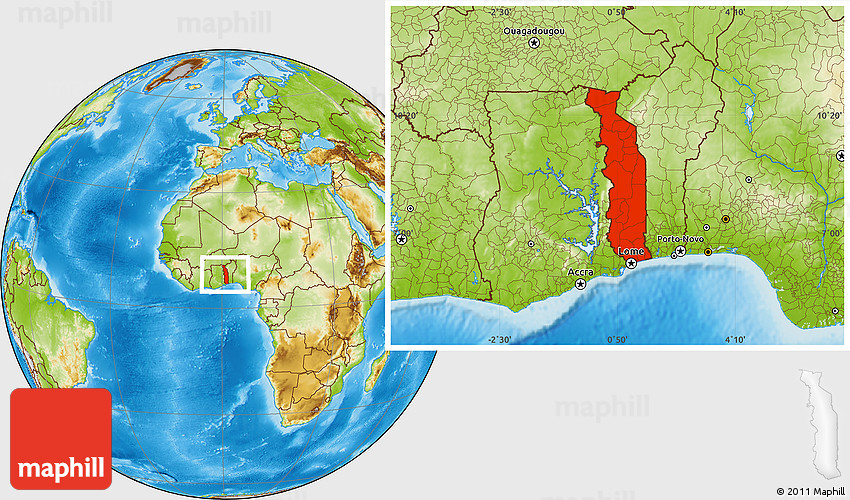 Physical Location Map of Togo