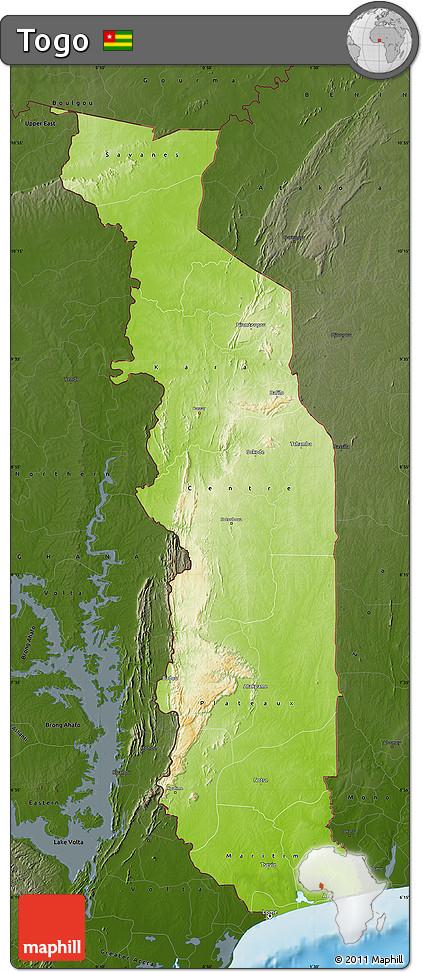 Free Physical Map of Togo darken land only