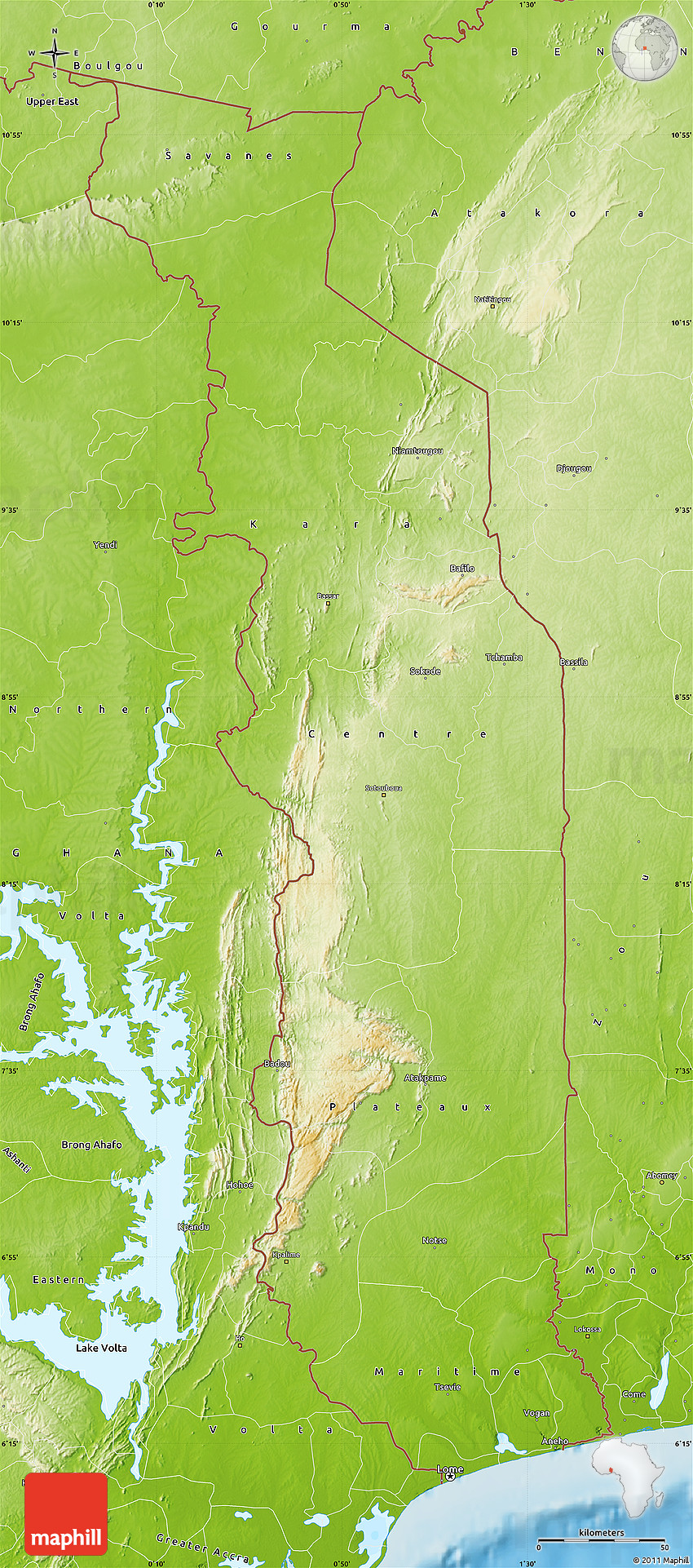Physical Map of Togo