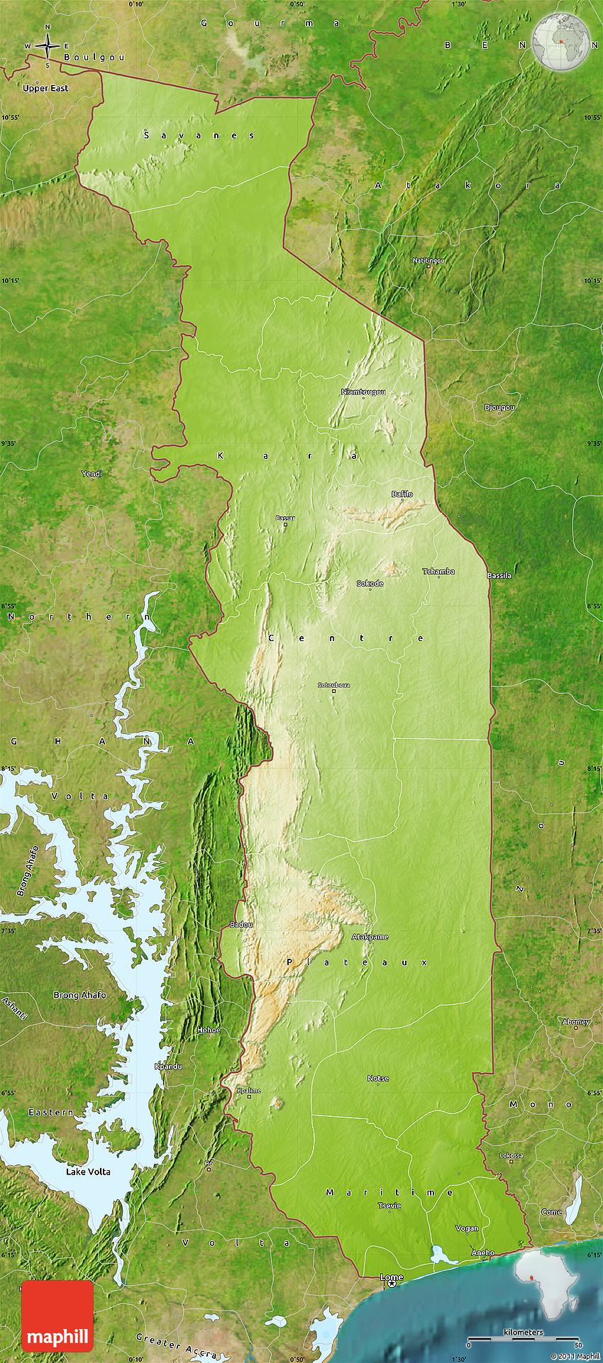 Physical Map of Togo satellite outside