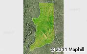 Satellite Map of Ogou, semi-desaturated