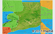 Satellite Panoramic Map of Ogou, political outside