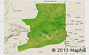Satellite Panoramic Map of Ogou, shaded relief outside