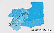 Political Shades Panoramic Map of Plateaux, single color outside
