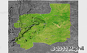 Satellite Panoramic Map of Plateaux, desaturated