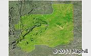 Satellite Panoramic Map of Plateaux, semi-desaturated