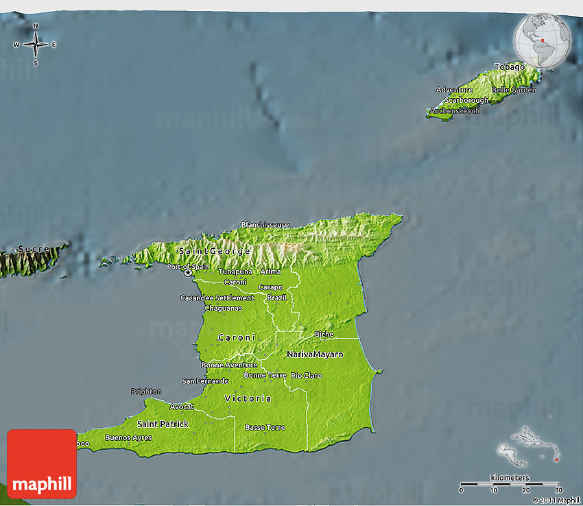 Physical 3D Map of Trinidad and Tobago darken