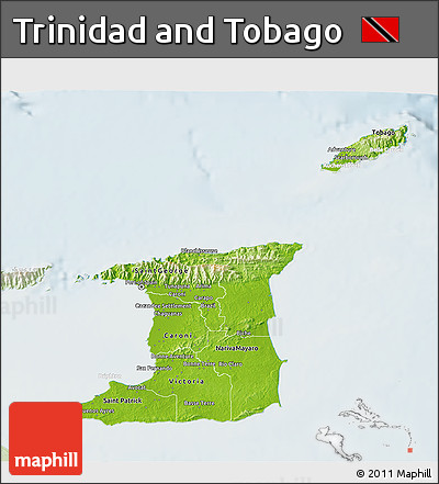 Free Physical 3D Map of Trinidad and Tobago lighten