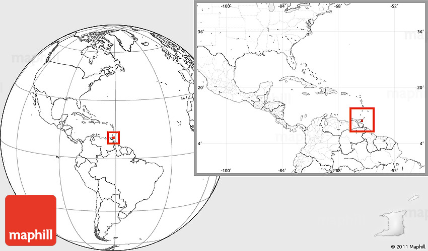 Blank Location Map of Trinidad and Tobago, within the entire continent