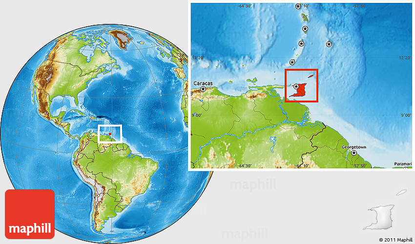 Physical Location Map of Trinidad and Tobago on