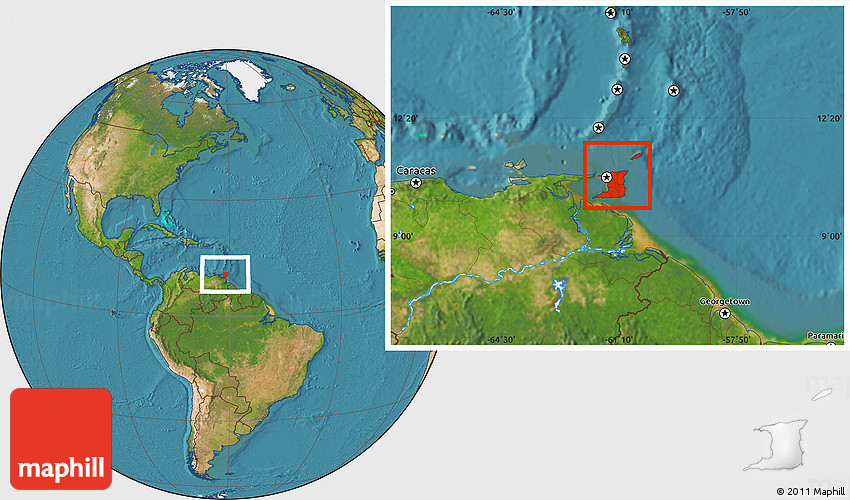 Satellite Location Map of Trinidad and Tobago