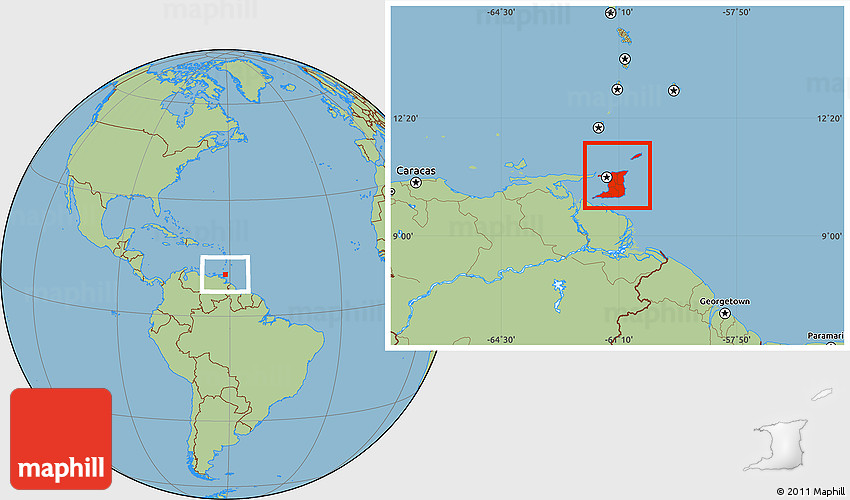 Savanna Style Location Map Of Trinidad And Tobago - Caracas on world map