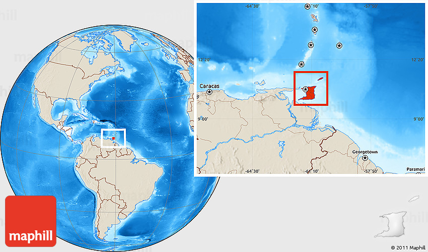 Shaded Relief Location Map of Trinidad and Tobago highlighted continent