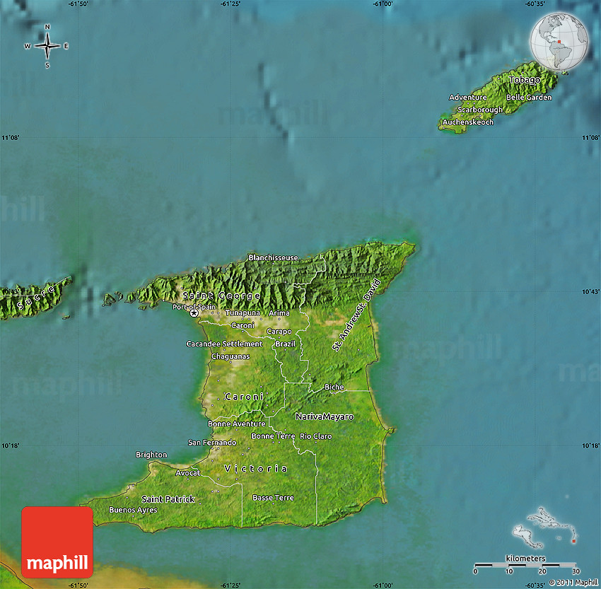 Satellite Map of Trinidad and Tobago