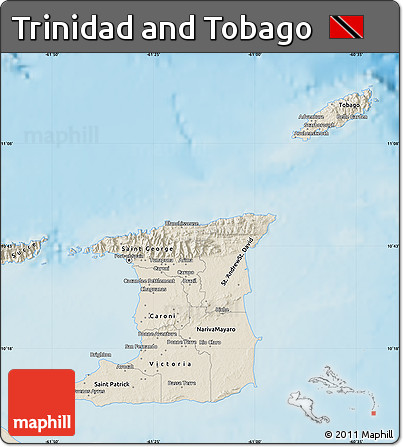 Shaded Relief Map of Trinidad and Tobago