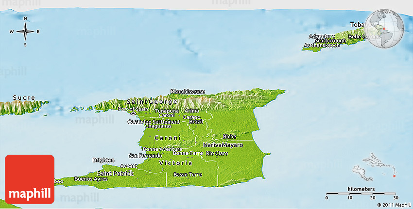 Physical Panoramic Map of Trinidad and Tobago