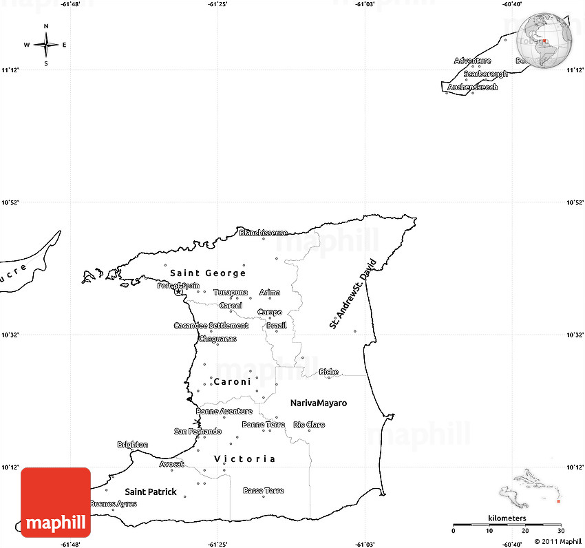 Blank Simple Map of Trinidad and Tobago
