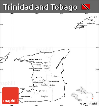 Free Blank Simple Map of Trinidad and Tobago